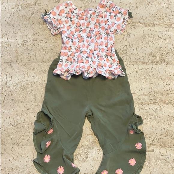 Little Lass Girls Pant Set Floral